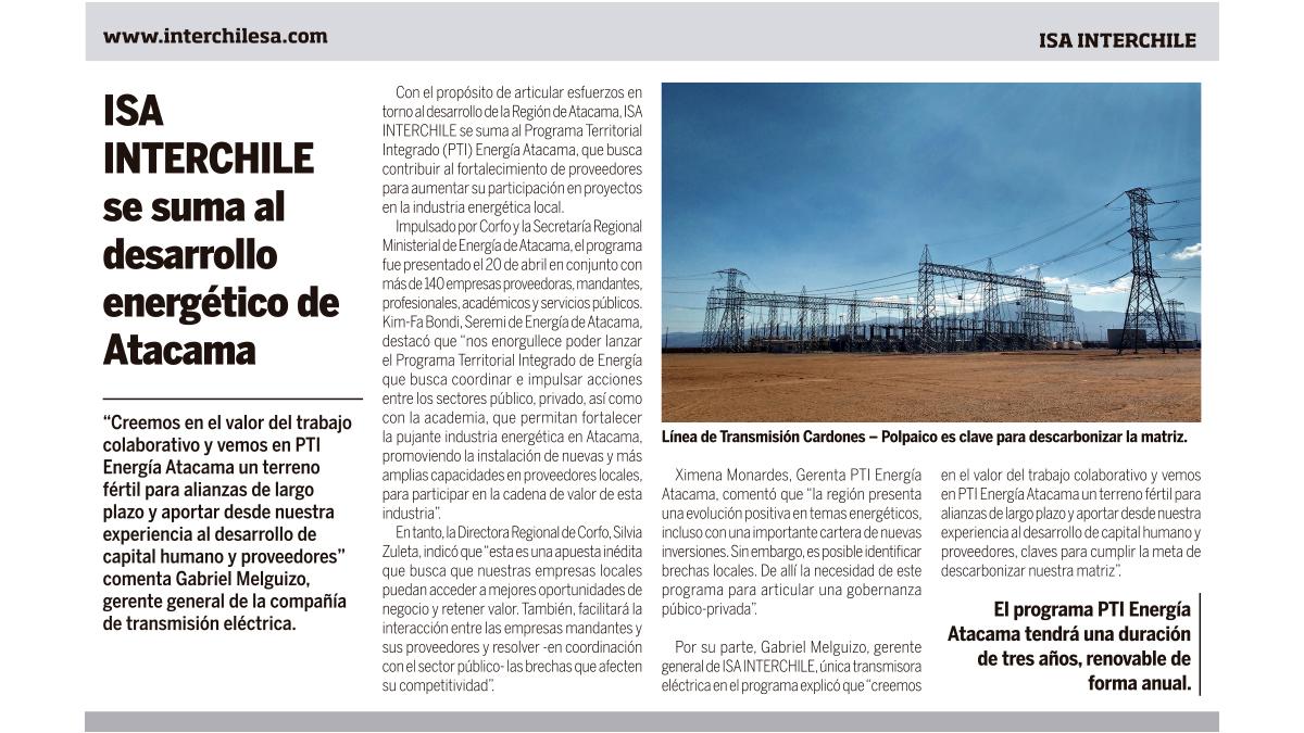 ISA INTERCHILE se suma al desarrollo energético de Atacama